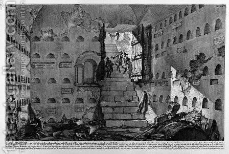 The Roman antiquities, t. 2, Plate XVI. Inscriptions and fragments of the burial chambers of the Family Arrunzia (figures carved from Barbault).. by Giovanni Battista Piranesi - Reproduction Oil Painting