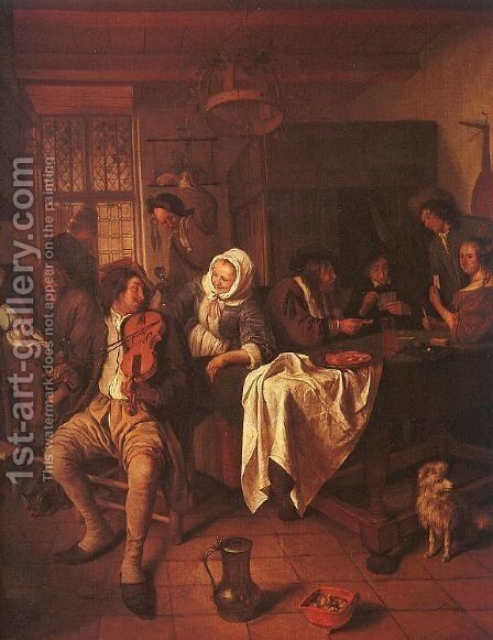 Inn with Violinist & Card Players by Jan Steen - Reproduction Oil Painting