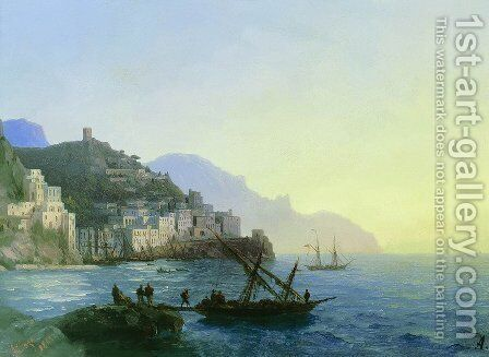 View of Amalfi by Ivan Konstantinovich Aivazovsky - Reproduction Oil Painting