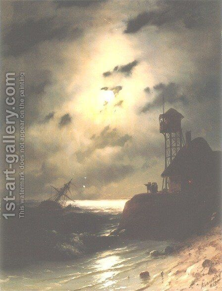 Moonlit Seascape With Shipwreck 2 by Ivan Konstantinovich Aivazovsky - Reproduction Oil Painting