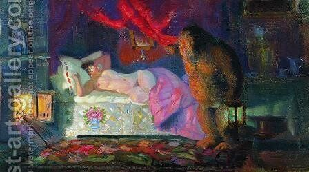 The merchant wife and the brownie by Boris Kustodiev - Reproduction Oil Painting