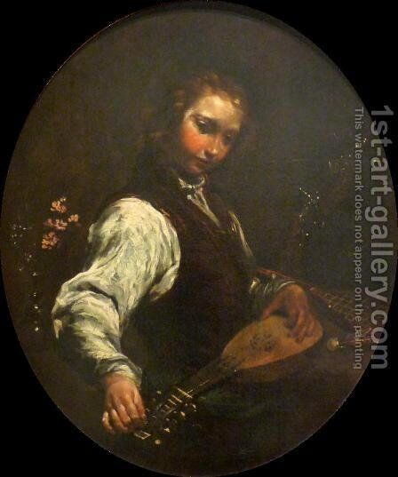 Woman with Pandurina by Giuseppe Maria Crespi - Reproduction Oil Painting