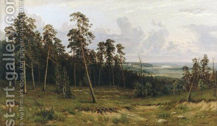 Fir forest on the river Kama by Ivan Shishkin - Reproduction Oil Painting