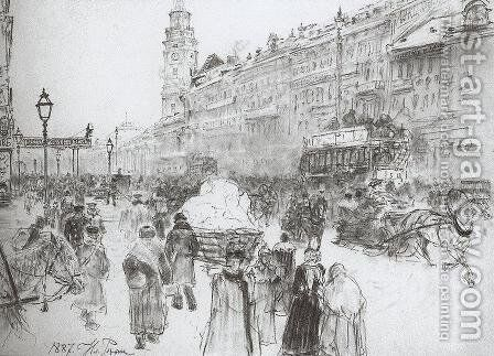 Nevsky Avenue by Ilya Efimovich Efimovich Repin - Reproduction Oil Painting