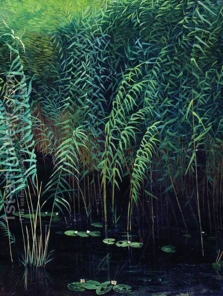 Reeds and water lilies by Isaak Ilyich Levitan - Reproduction Oil Painting