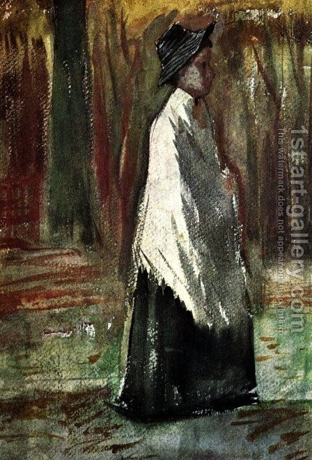 Woman with White Shawl in a Wood by Vincent Van Gogh - Reproduction Oil Painting