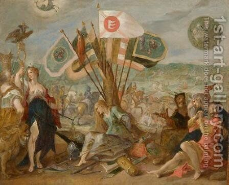 Allegorie on the battle of Gurslu by Hans Von Aachen - Reproduction Oil Painting