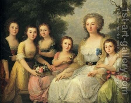 Portrait of Countess A S Protasova with Her Nieces by Angelica Kauffmann - Reproduction Oil Painting