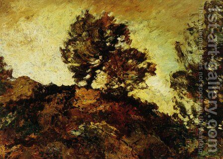 Rocky Landscape by Adolphe Joseph Thomas Monticelli - Reproduction Oil Painting
