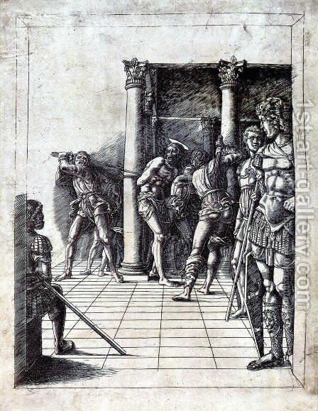 The Flagellation of Christ in the pavement by Andrea Mantegna - Reproduction Oil Painting