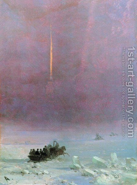 St. Petersburg. The ferry across the river by Ivan Konstantinovich Aivazovsky - Reproduction Oil Painting