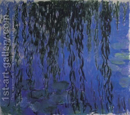 Water Lilies and Weeping Willow Branches by Claude Oscar Monet - Reproduction Oil Painting