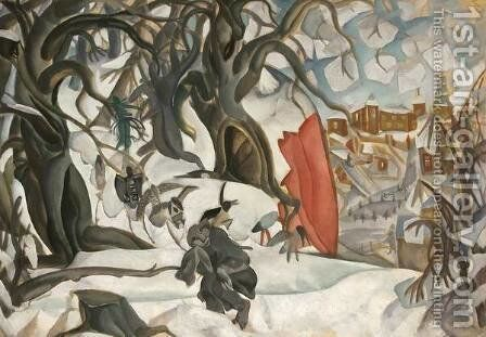 Winter. Red Hill in the realm of Berendey by Boris Dmitrievich Grigoriev - Reproduction Oil Painting