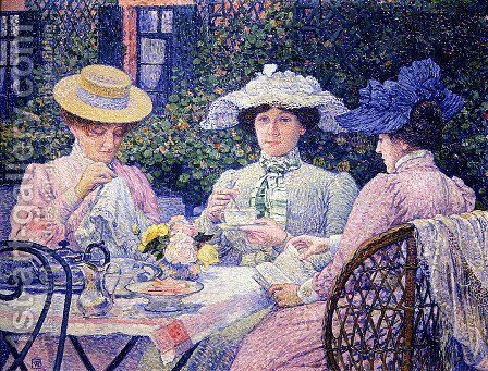 Summer Afternoon (Tea in the Garden) by Theo van Rysselberghe - Reproduction Oil Painting