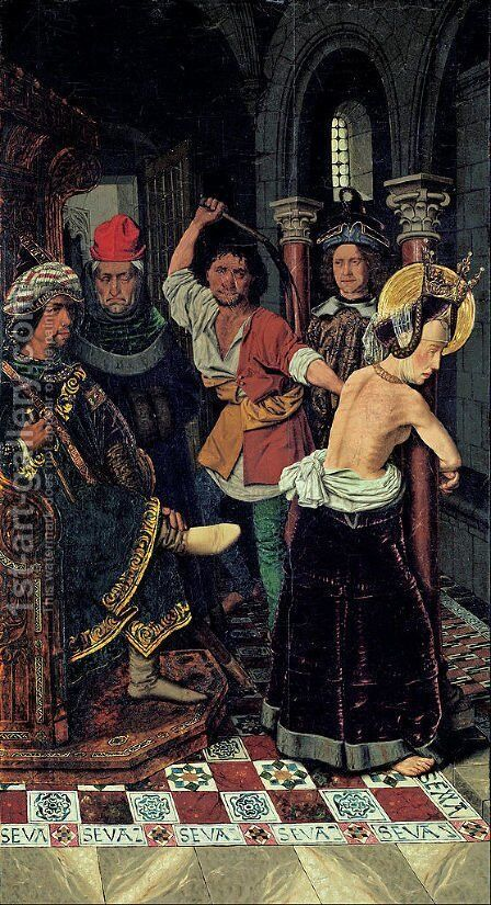 The Flagellation of St Engracia by Bartolome Bermejo - Reproduction Oil Painting