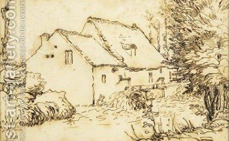 Water mill by Jean-Francois Millet - Reproduction Oil Painting