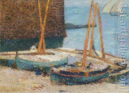Boats in the Port of Collioure by Henri Martin - Reproduction Oil Painting