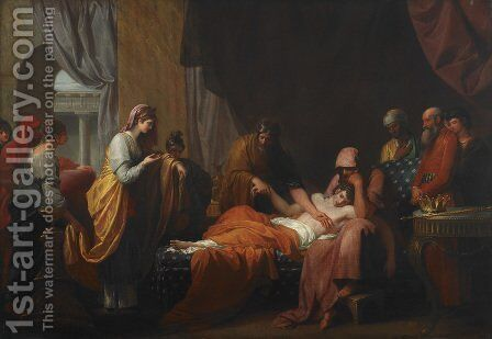 Erasistratus the Physician Discovers the Love of Antiochus for Stratonice by Benjamin West - Reproduction Oil Painting