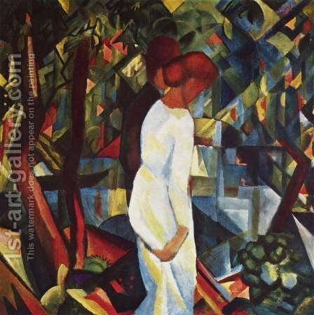 Couple in the woods by August Macke - Reproduction Oil Painting