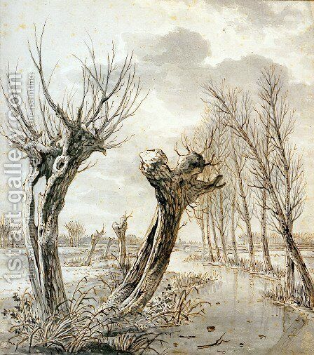 Landscape in winter by Jacob van Strij - Reproduction Oil Painting