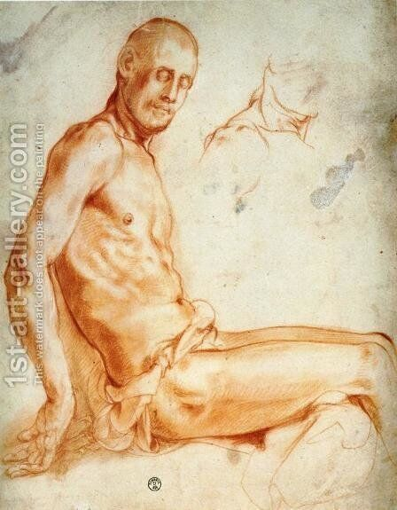 Christ Seated, as a Nude Figure by (Jacopo Carucci) Pontormo - Reproduction Oil Painting