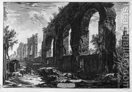 A view of the progress of the Water Castle Julia by Giovanni Battista Piranesi - Reproduction Oil Painting