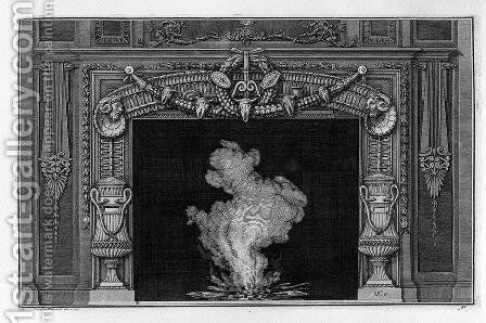 Fireplace two vases on the sides with snakes by Giovanni Battista Piranesi - Reproduction Oil Painting