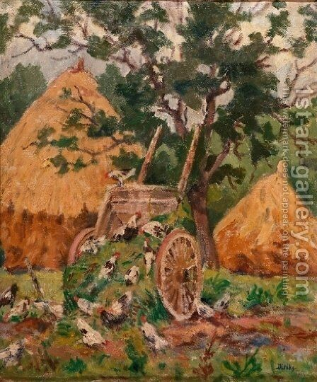 Chickens, France by Carl-Edvard Diriks - Reproduction Oil Painting