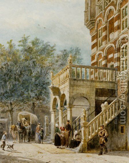 Figures on the Bank in Deventer by Cornelis Springer - Reproduction Oil Painting