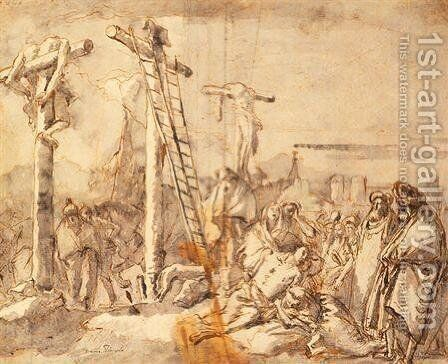 Lamentation at the Foot of the Cross by Giovanni Domenico Tiepolo - Reproduction Oil Painting