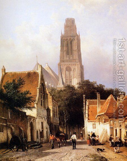 Church in Zaltbommel 2 by Cornelis Springer - Reproduction Oil Painting
