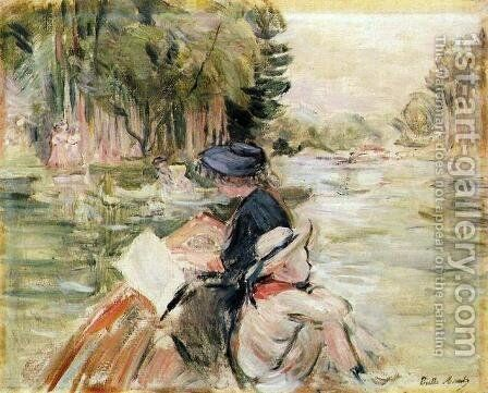 Woman with a Child in a Boat by Berthe Morisot - Reproduction Oil Painting