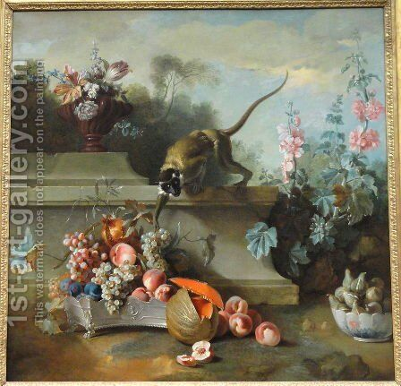 Still Life with Monkey, Fruits, and Flowers by Jean-Baptiste Oudry - Reproduction Oil Painting