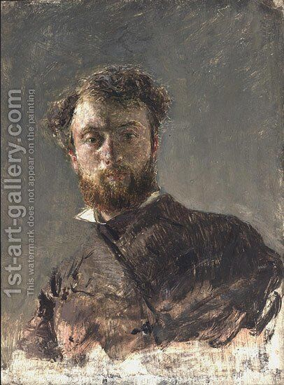 Self-Portrait 3 by Antonio Mancini - Reproduction Oil Painting