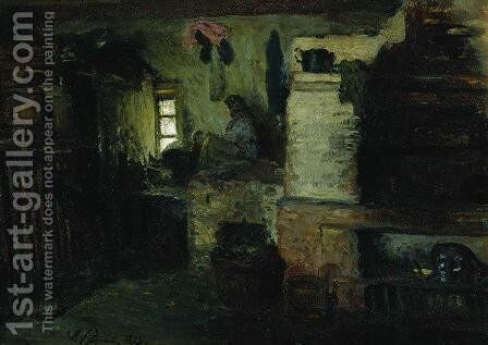 In the hut by Ilya Efimovich Efimovich Repin - Reproduction Oil Painting