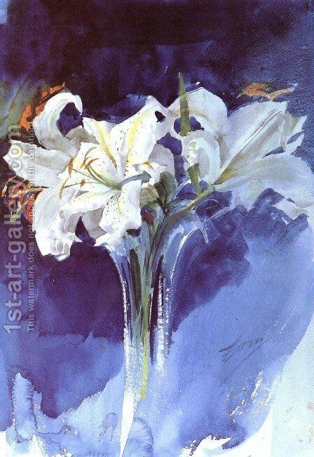 White Lilies by Anders Zorn - Reproduction Oil Painting