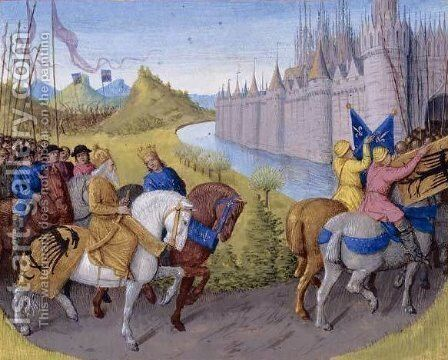 Crusaders Arrived in Constantinople. Battle Between the French and Turks in 1147 and 1148 by Jean Fouquet - Reproduction Oil Painting