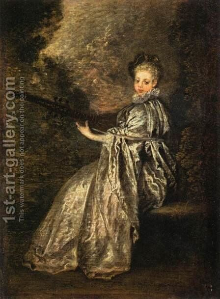 The Delicate Musician by Jean-Antoine Watteau - Reproduction Oil Painting