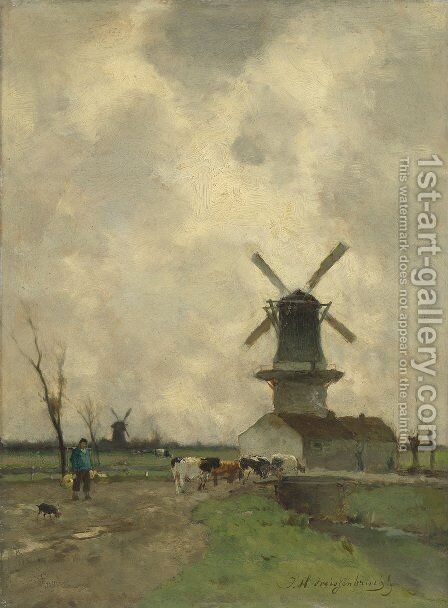 The Mill by Jan Hendrik Weissenbruch - Reproduction Oil Painting