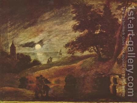 Moonlit landscape by Adriaen Brouwer - Reproduction Oil Painting