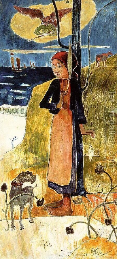 Jeanne d'Arc, or Breton girl spinning by Paul Gauguin - Reproduction Oil Painting