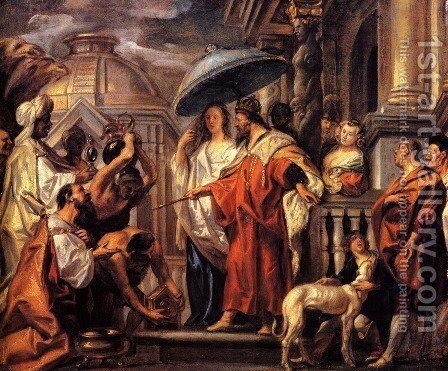The tribute the Caliph Harun al-Rashid to Charlemagne by Jacob Jordaens - Reproduction Oil Painting