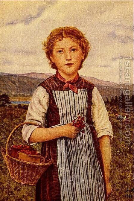 The Strawberry Girl by Albert Anker - Reproduction Oil Painting