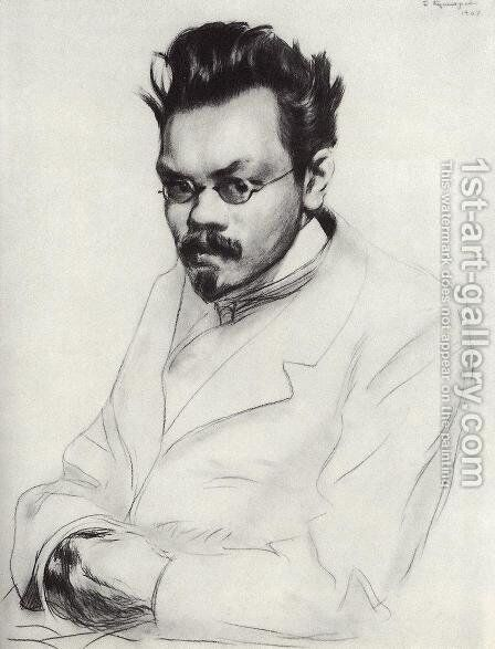 Portrait of the writer A.M. Remizov by Boris Kustodiev - Reproduction Oil Painting