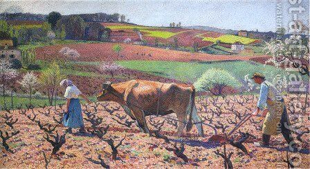 Laborers Prepare the Vines in Quercy by Henri Martin - Reproduction Oil Painting