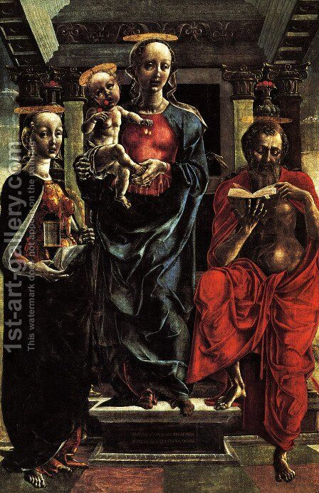 The Virgin and Child with Saints Jerome a by Andrea Mantegna - Reproduction Oil Painting