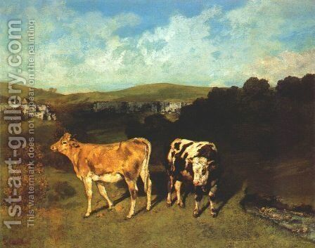 White Bull and Blond Heifer by Gustave Courbet - Reproduction Oil Painting
