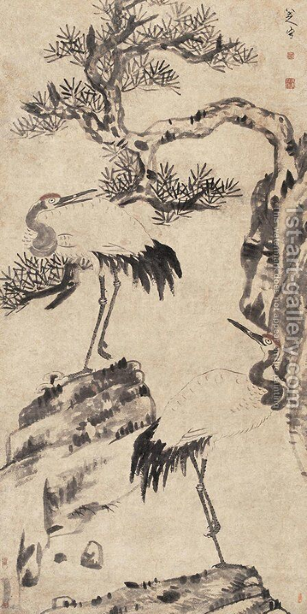 Pine and Cranes by Bada Shanren - Reproduction Oil Painting