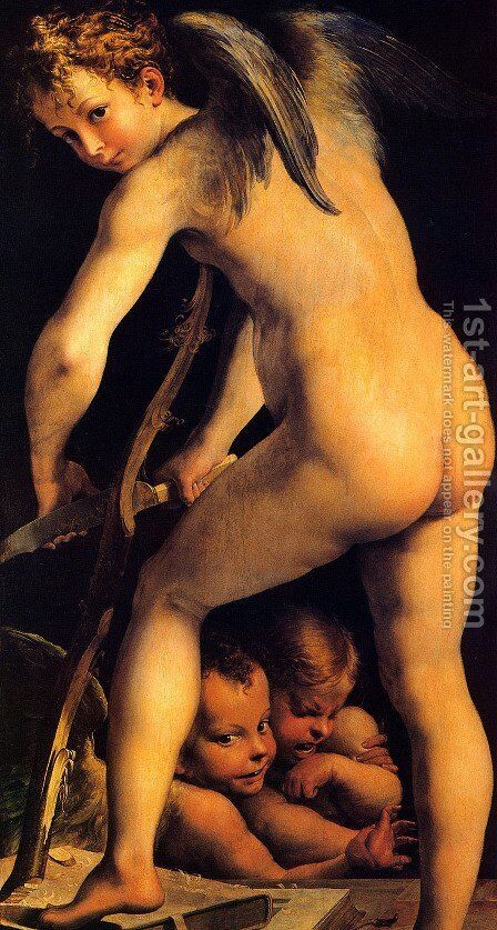 Amor Carving His Bow by Girolamo Francesco Maria Mazzola (Parmigianino) - Reproduction Oil Painting