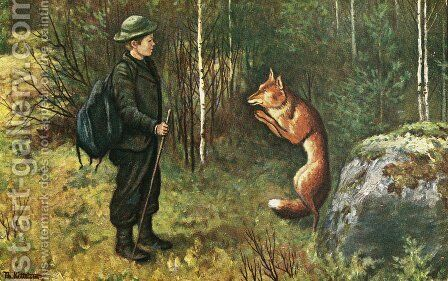 Askeladdens adventure by Theodor Kittelsen - Reproduction Oil Painting